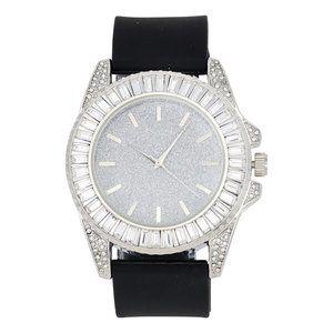 Baguette Cut Diamond Crystal Watch - Black/Silver
